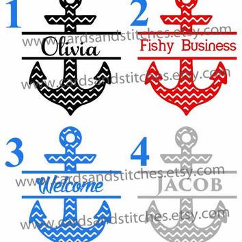 Custom Split Anchor Chevron Decal or Iron-on Transfer (Glitter or Mat) for Cars, Boats, Shirts, Totes and More