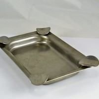 Stainless Steel Rectangular Ashtray - Hand Made Shop or Party Cigar Cigarette Ashtray - Industrial Decor