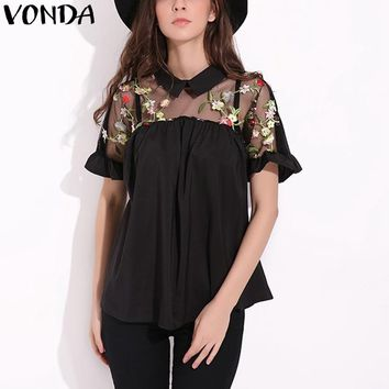 VONDA Maternity Clothing 2018 Summer Floral Embroidery Blouses Pregnant Women Mesh Patchwork Shirts Blusa Sexy Short Sleeve Tops