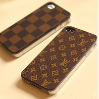 handmade Leather iphone 5 case iphone 4 case iphone 4s case samsung galaxy s3 case  cases black lattice white  brown monogram