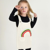 Sleeveless Knitted Rainbow Applique Overall Dress