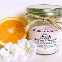 Fresh (Wild Orange & Honeysuckle) Soy Wax Candle | Essential oil Candles| Soy Candle