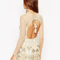ASOS Embellished Playsuit In Gold With Tassle Back Tie