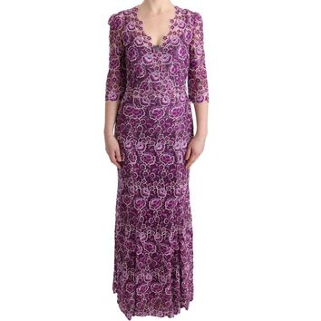 Dolce & Gabbana Purple Floral Ricamo Sheath Long Dress
