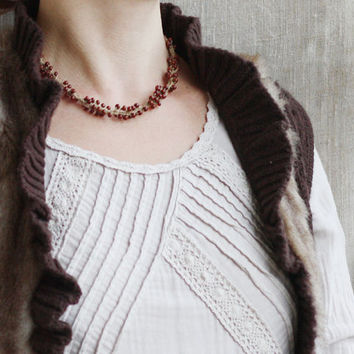 Linen beaded necklace Brown Rustic Natural Boho jewelry