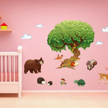 cik1661 Full Color Wall decal bedroom children's room decor Custom Baby Nursery on bed baby tree nusery decal tree forest animals