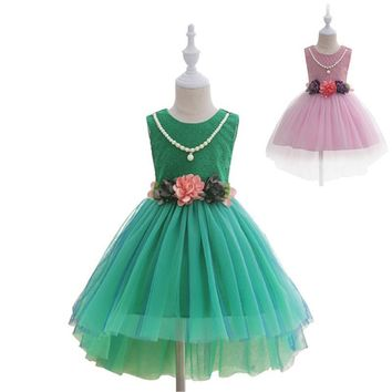 Girls Dress Summer Casual Beading Flower Kid Dresses For Girls Clothing Sundress Baptism Party Child Costume Dresses Floral Tie