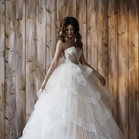 Wedding dress 2 in 1, ball gown, short wedding dress !!! Only 1 available Size 84-64-92 - PRICE 2,460.00 EUR!!!