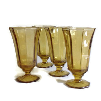 Vintage Amber Glass-Amber Glassware-Drinking Glasses-Footed-Octagonal-Panels-Home Decor-Shabby Chic-Tableware-Set of 4-Antique Glass