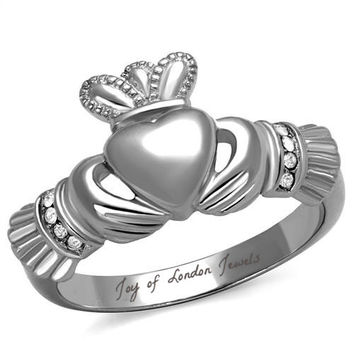 Celtic Irish Heart Claddagh Ring with Diamond Accents