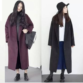 2017 Winter New Arrival Oversize Retro Burgundy Black Loose Extra Long Thick Warm Wool Coats Fashion Woolen Overcoat for Women
