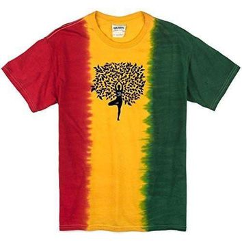 Yoga Clothing for You Mens Black Tree Pose Rasta Tie Dye T-Shirt