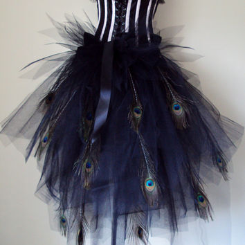 Black PeacocK Feather Burlesque Bustle Belt size US. and Uk. XS,S ,M ,L,XL