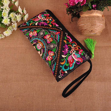 Luxury Handbags Women double faced flower embroidered Small handbag Clutch Bag Vintage Tassel Evening Clutch Purse embroidered