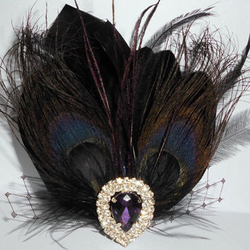 Black Purple Peacock Bridal Head Piece Peacock by parfaitplumes