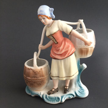 Vintage Arpo Romania Woman Peasant Women Fine Porcelain Sculpure Figurine Doll Collectible