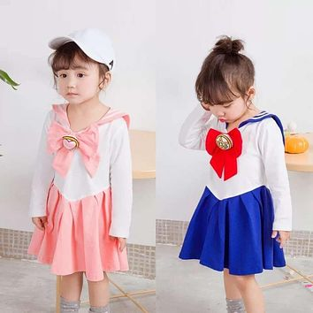 Japanese Anime Kid Baby Girls Sailor Moon Cosplay Bowknot Dress Kawaii Lolita Uniform Children Halloween Party Lovely Costume
