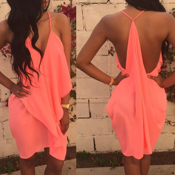 V-Neck Spaghetti Strap Backless Chiffon Dress