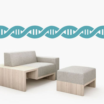 DNA double helix stripes wall art border - removable vinyl wall decal / sticker - Science Wall Art decor