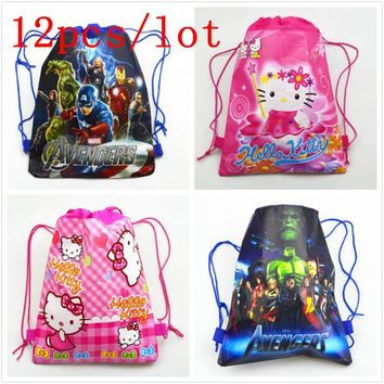 12Pcs/lot Non-woven Fabrics Backpack Avengers Children School Backpack Bags for Girls Pink Hello Kitty Cartoon Casual Gift Bag