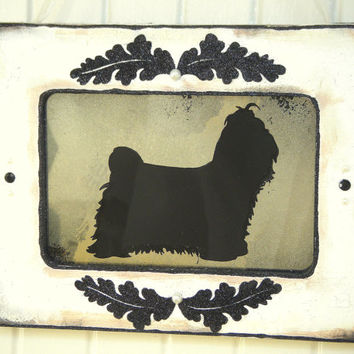 Shih Tzu Dog Silhouette Antiqued Mirror White Shabby Chic Frame French Country Cottage Vintage Style Wall Decor Pet Art
