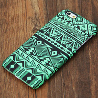 Green Tribal Pattern iPhone 6s Plus 6 5S 5C 5 4 Protective Case #730