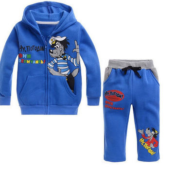 2015Cool Sets Kids Boys Girls Wolf Printing Zipper Blue Hoodies +Pants Suits for 90-130cm Children