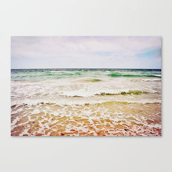 Large Canvas, Beach Surf Ocean Tides Photography Wall Art Hanging, Blue Green Sand Coastal Nautical Wrapped Canvas, 8x10 11x14 16x20 20x30