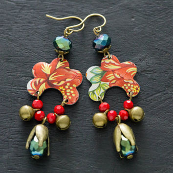 Red Vintage Tin Gypsy Bell Earrings with Faceted Glass Beads and Flower Bead Caps, One of a Kind Jewelry, Unusual Jewelry, Tin Jewelry.