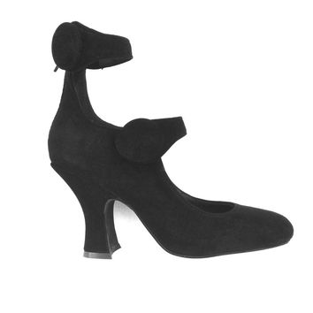 Thanks Jeffrey Campbell making such a great shoes, these Eclipsed Cage Straps vintage inspired heel pumps featuring suede upper and leather underlining, square toe front, cage straps and big buttons design, rear zip closure for easy on/off, and finished wi