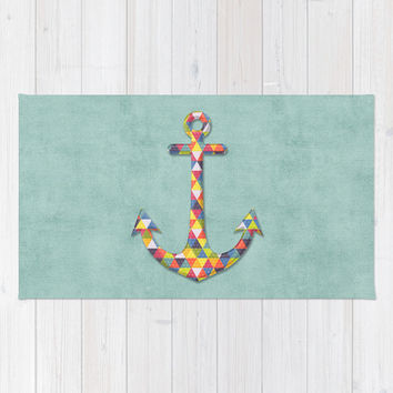 Geometric Rainbow Anchor Area & Throw Rug by Silva Ware by Walter Silva | Society6