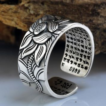 100% Sterling Silver Lotus Ring