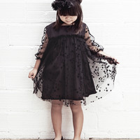 Tocoto Vintage Girl Tulle Fabric Party Dress in Black - W3415