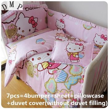 Discount! 6/7pcs Cartoon baby bedding set 100% cotton curtain crib bumper baby cot sets baby bed bumper ,120*60/120*70cm