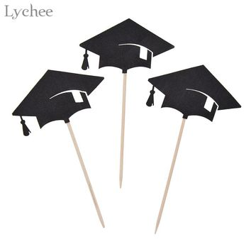 Lychee 30pcs Bachelor Hat Cupcake Toppers Congrats Graduation Cake Decorating Supplies Graduate Party Decoration