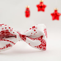 Christmas Bow Tie for Men White Bow Tie Red Bow Tie Adult Size Bow Ties Reindeer Bow Tie Xmas Gift for Men Gift for Brother Mens Gift Stars