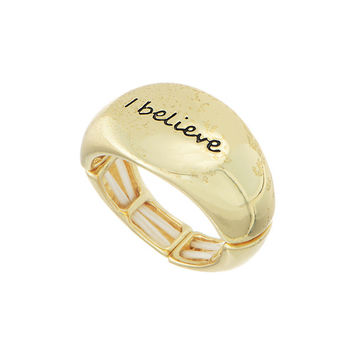 """I Believe"" Gold Tone Stretch Ring"