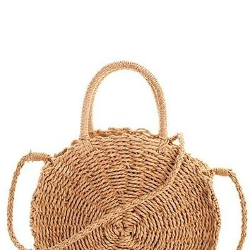 Round Smooth Straw Woven Material Bag