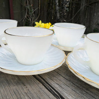 4 Vintage Fire King White & Gold Teacups and Saucers - Mid Century Tea Service