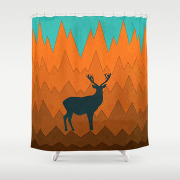 Deer silhouette in autumn Shower Curtain by eDrawings38   Society6