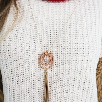 Live My Life Necklace: Tan