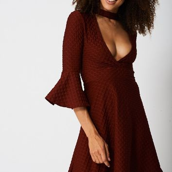 Bell Sleeve Skater Dress In