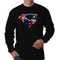 New England Inspired Superman Marvel Logo Long Sleeve Men's T-Shirt Long Sleeve Men's Tees Men's Shirt