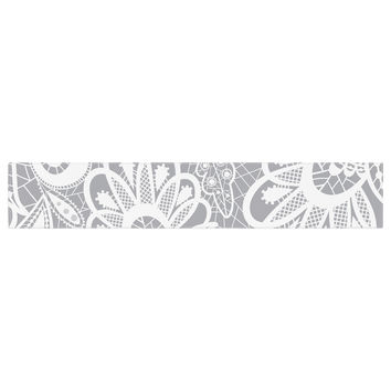 "Petit Griffin ""Lace Flower"" Gray White Table Runner"