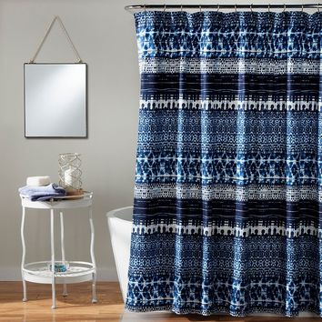 Lush Decor Lambert Tie Dye Shower Curtain (Blue)