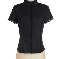 ModCloth French Mid-length Short Sleeves The Thrill of Victorian Top