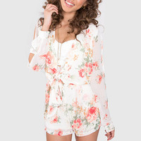 Jane Floral Playsuit - Ivory
