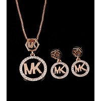 MK Popular Women Logo Diamonds Stud Earring Necklaces Two Piece+Best Gift Silvery