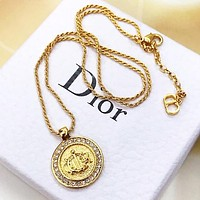 Dior New Women Men Personality Circular Pendant Necklace Jewelry