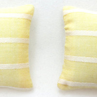 Miniature Pillows For Sofa Couch or Bed Beautiful Blue Yellow StripeFree Shipping